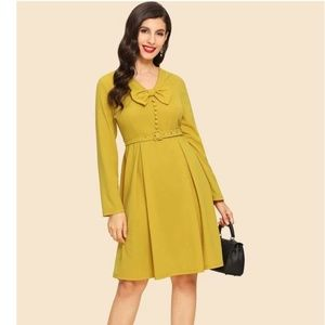 Bow And Button Front Flare Dress